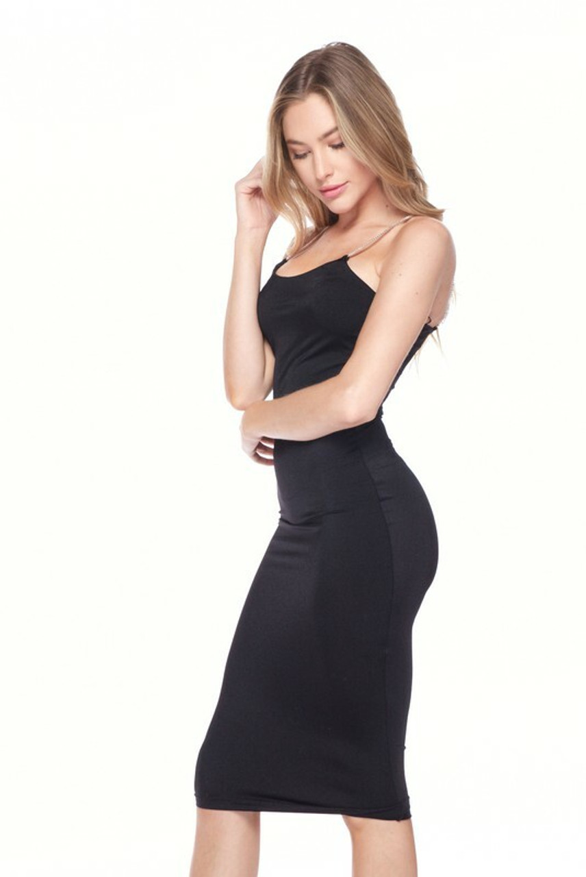 Left side image of Black Crystal Spaghetti Strap Satin Bodycon Midi Dress