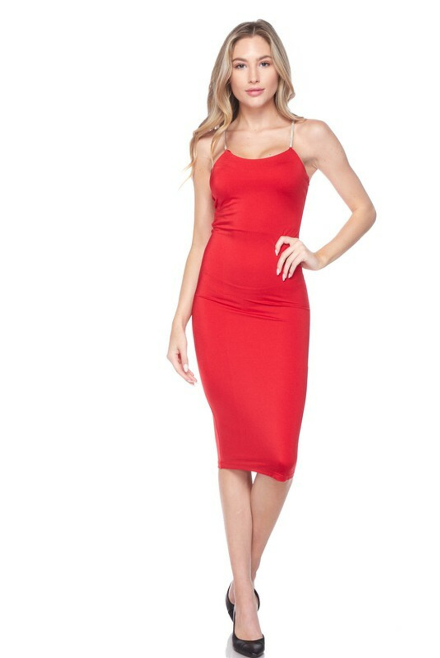 Front side image of Red Crystal Spaghetti Strap Satin Bodycon Midi Dress