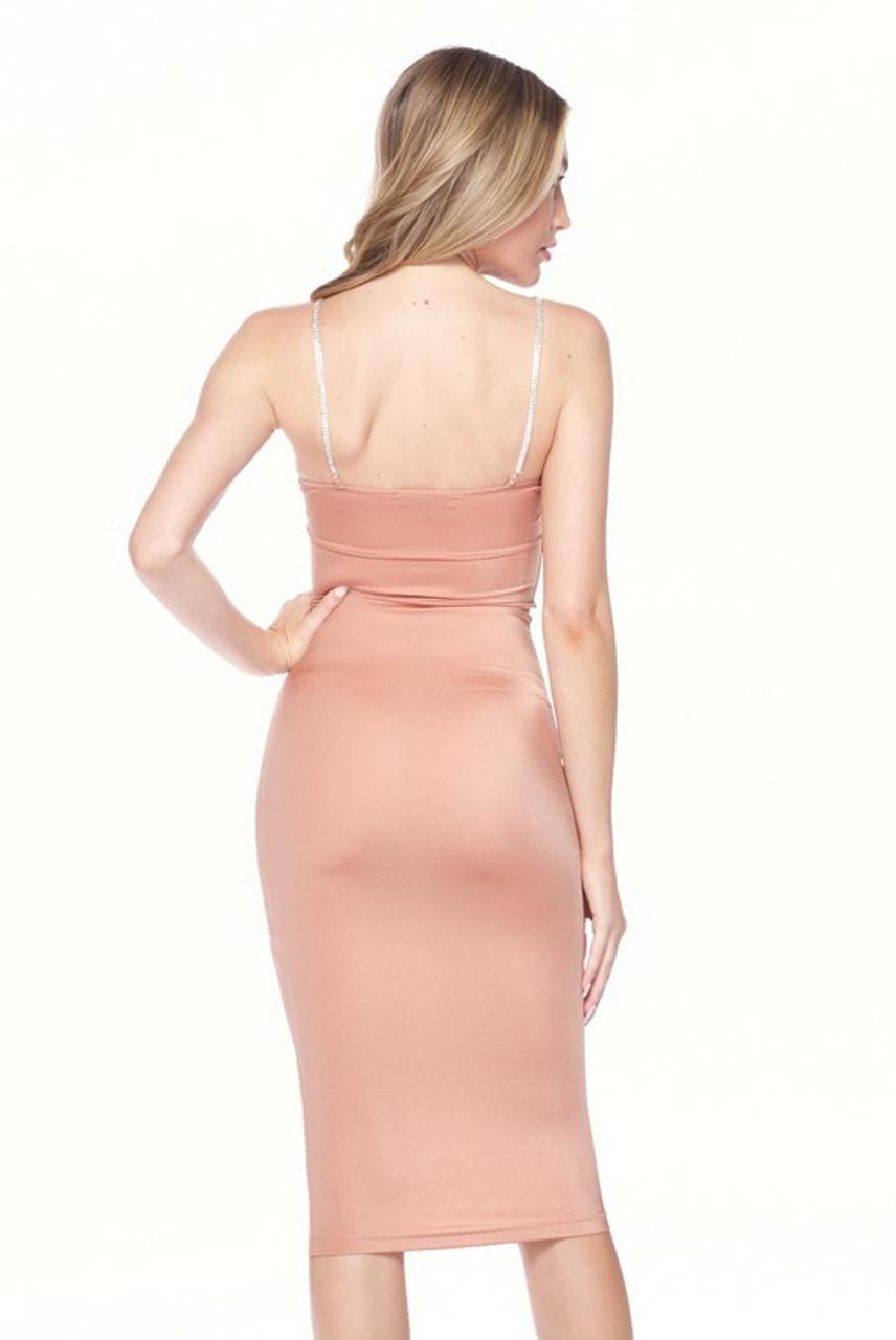 Back side image of Salmon Crystal Spaghetti Strap Satin Bodycon Midi Dress