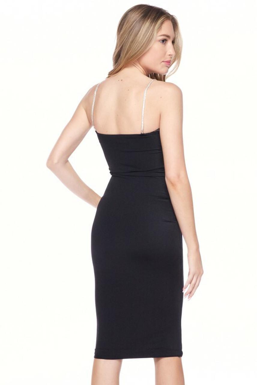 Back side image of Black Crystal Spaghetti Strap Satin Bodycon Midi Dress