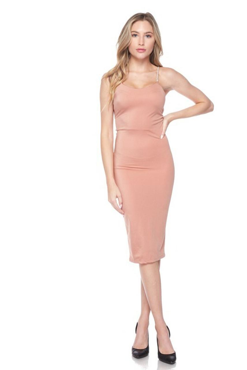 Front side image of Salmon Crystal Spaghetti Strap Satin Bodycon Midi Dress