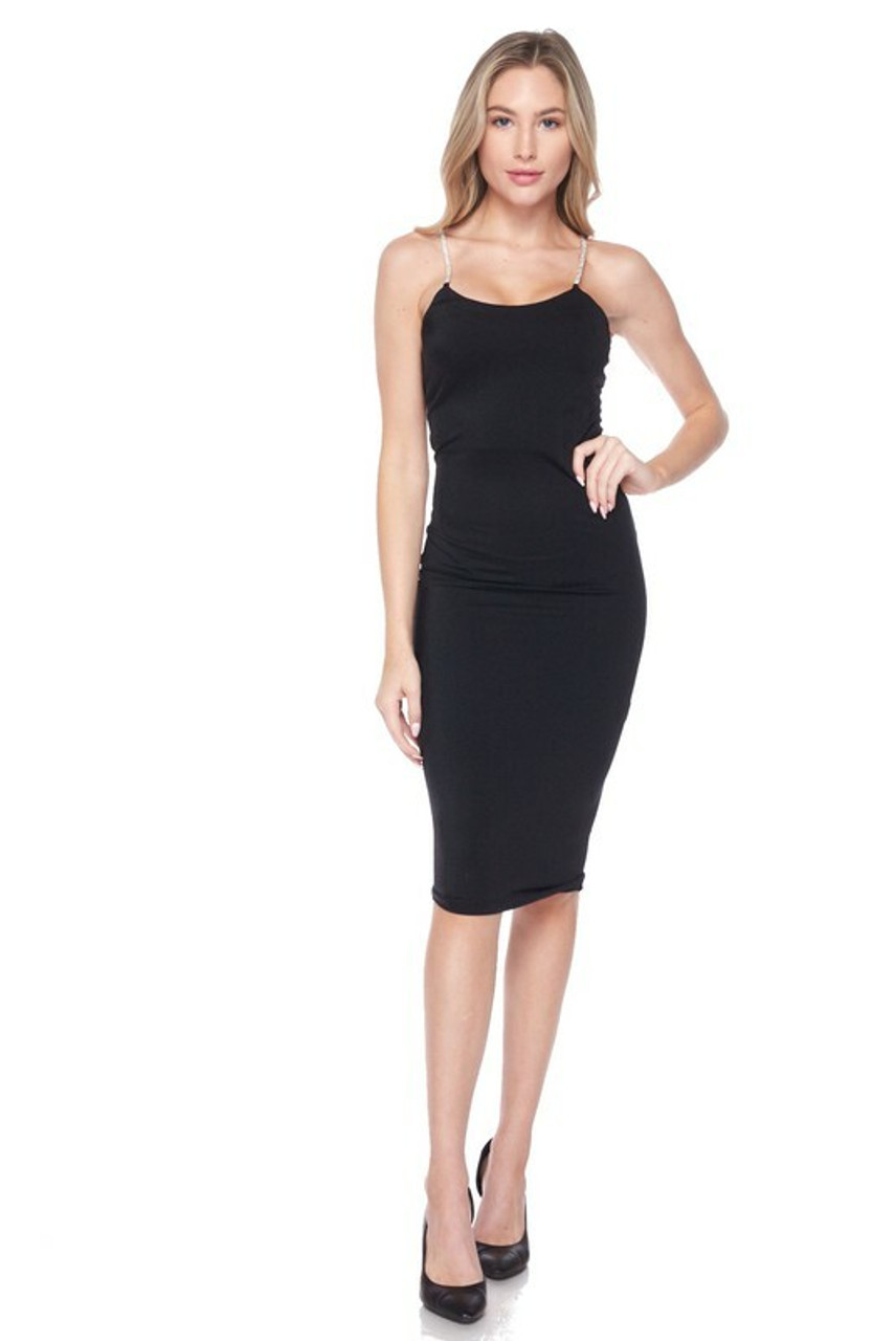 Front side image of Black Crystal Spaghetti Strap Satin Bodycon Midi Dress