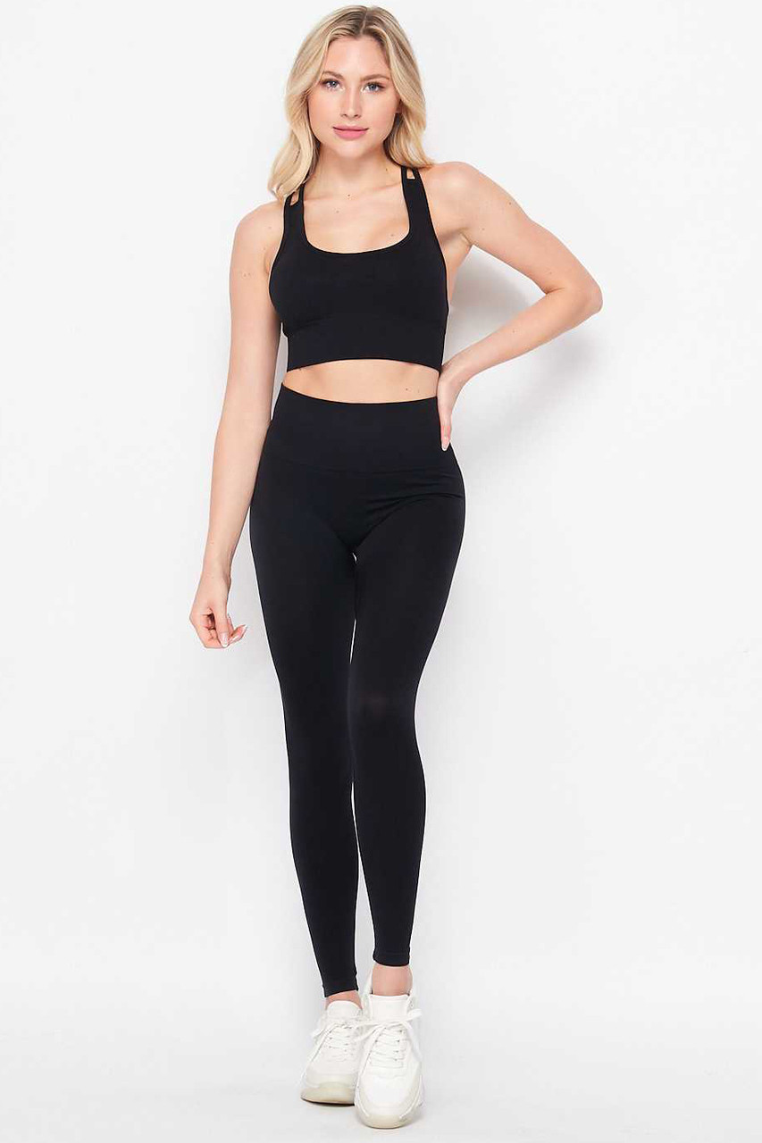 Front of Black 2 Piece Seamless High Waisted Leggings and Sports Bra Set