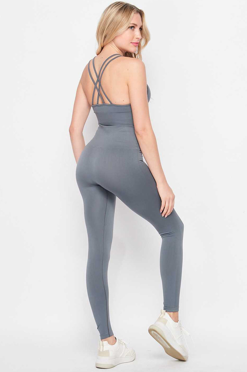 Back/left side of CHarcoal 2 Piece Seamless High Waisted Leggings and Sports Bra Set