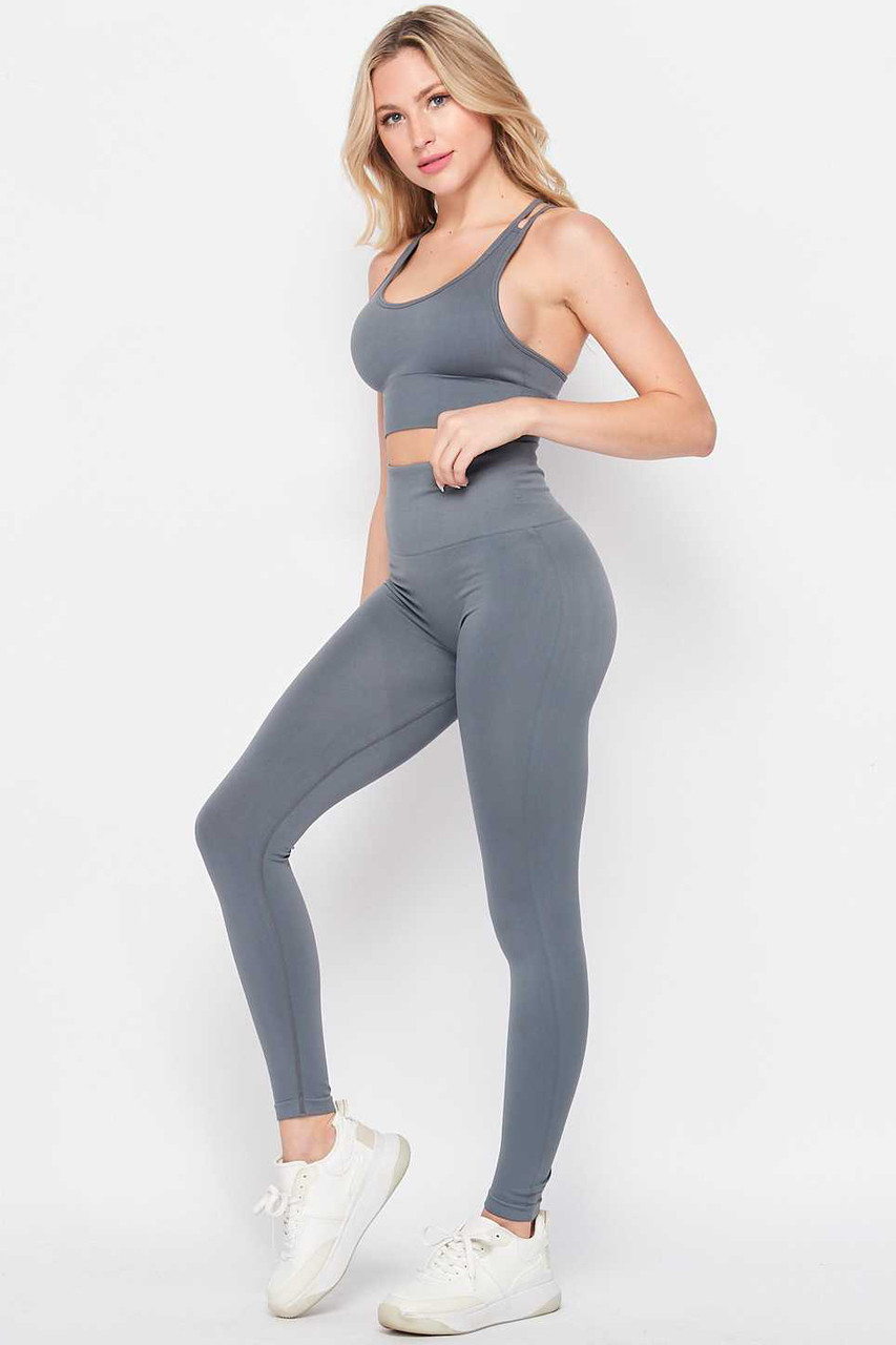 Left side of Charcoal 2 Piece Seamless High Waisted Leggings and Sports Bra Set