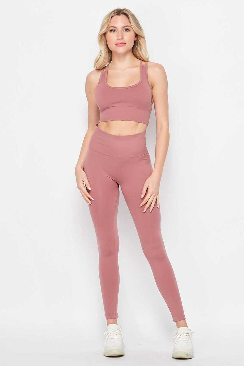 Front side of Mauve 2 Piece Seamless High Waisted Leggings and Sports Bra Set