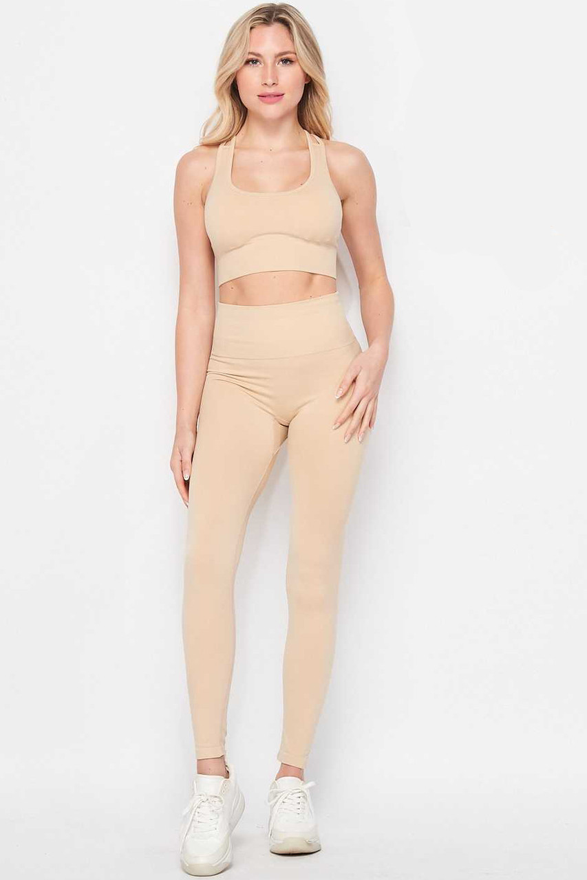 Front side of Beige 2 Piece Seamless High Waisted Leggings and Sports Bra Set