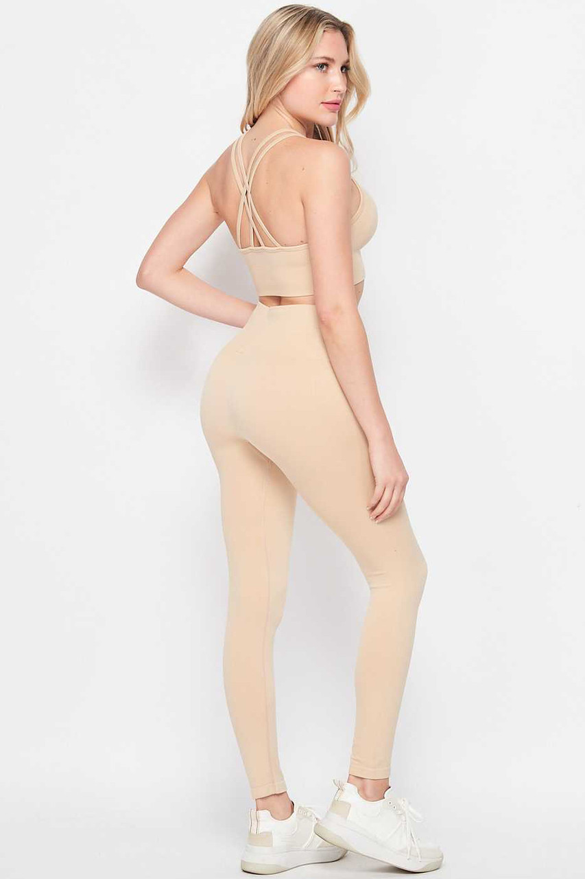 Back of beige 2 Piece Seamless High Waisted Leggings and Sports Bra Set