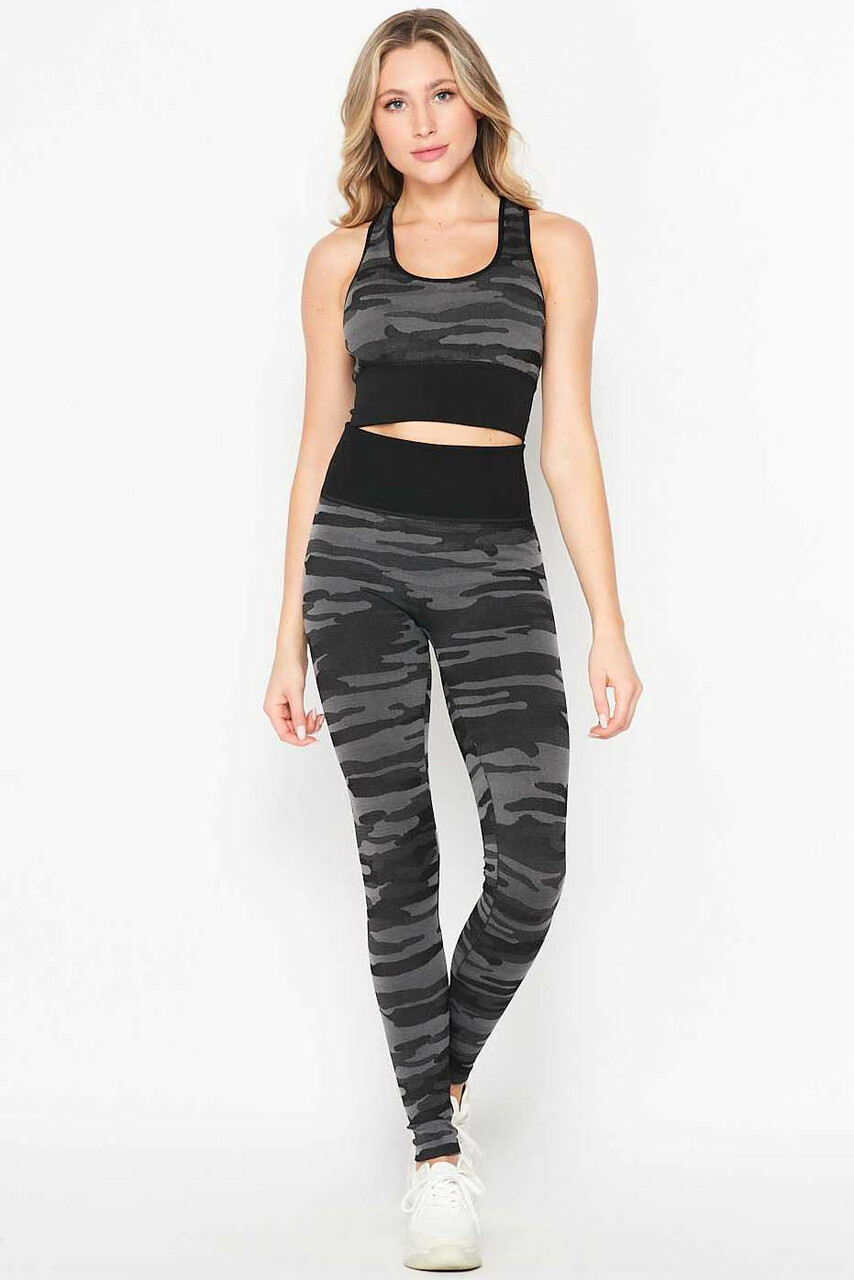 Front of 2 Piece Seamless Charcoal Camouflage Bra Top and Leggings Sport Set with a trendy and versatile design