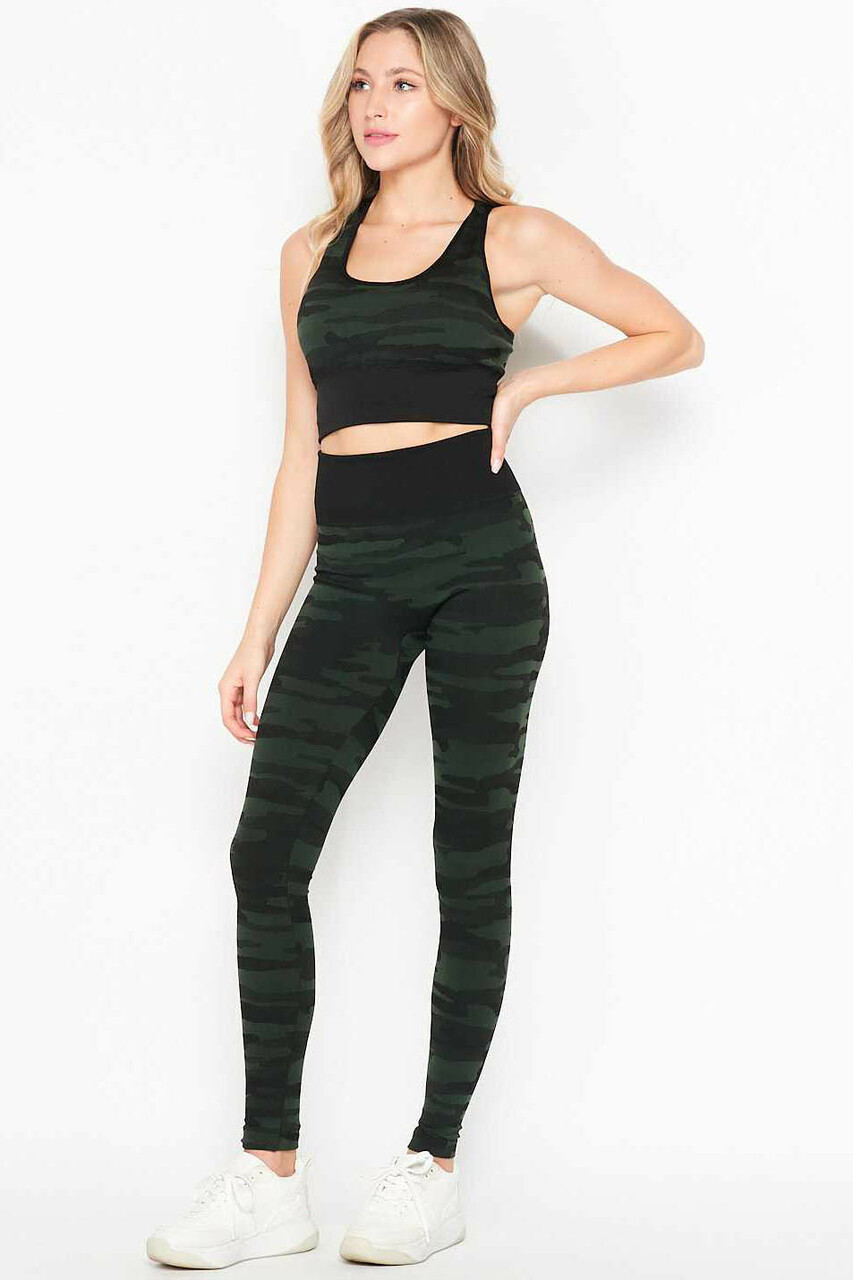 Front of 2 Piece Seamless Olive Camouflage Bra Top and Leggings Sport Set with a trendy army print fabric design