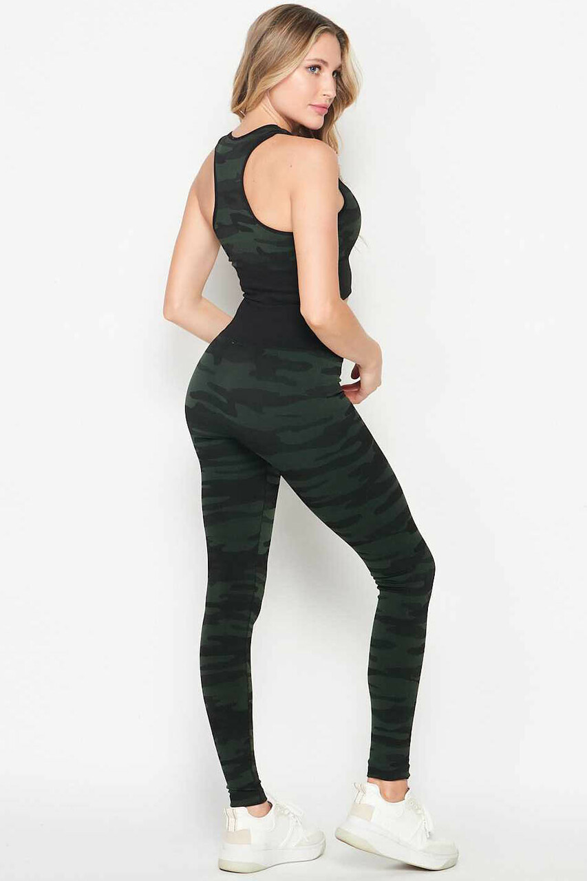 Back/right side image of 2 Piece Seamless Olive Camouflage Bra Top and Leggings Sport Set
