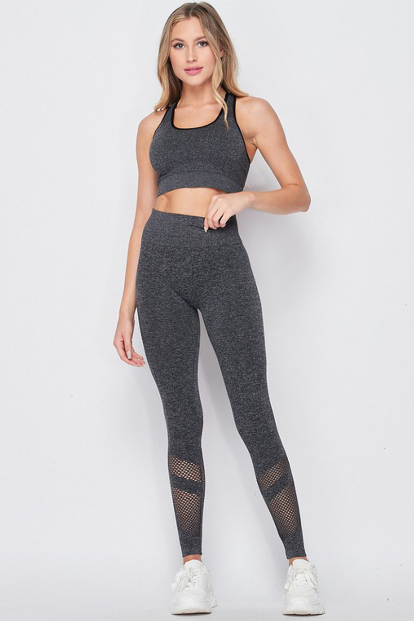 Front side image of Premium 2 Piece Charcoal Bra Top and Leggings Sport Set with fishnet style detailing on the lower legs