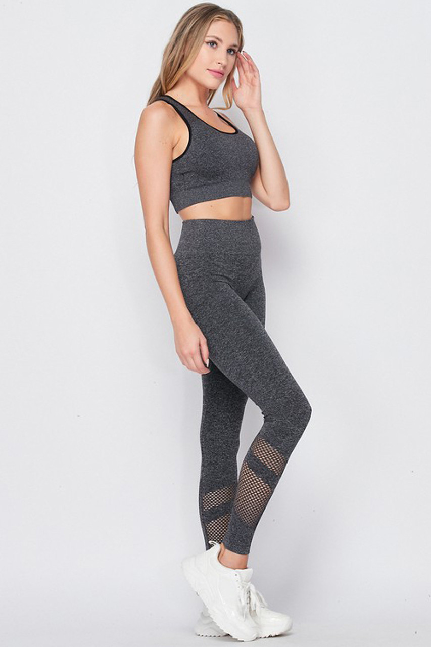 Right side of Premium 2 Piece Charcoal Bra Top and Leggings Sport Set