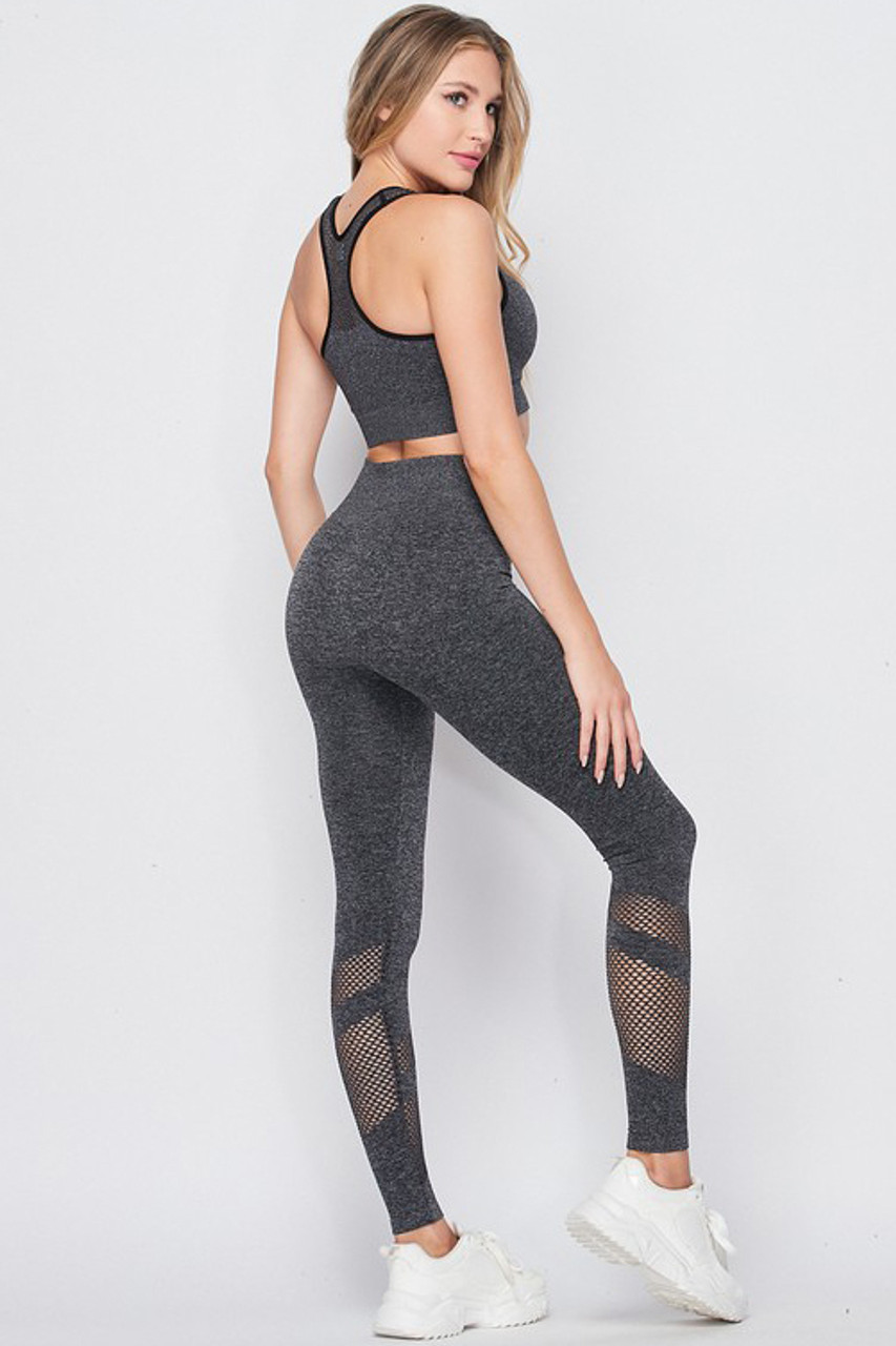 Back/right side of Premium 2 Piece Charcoal Bra Top and Leggings Sport Set