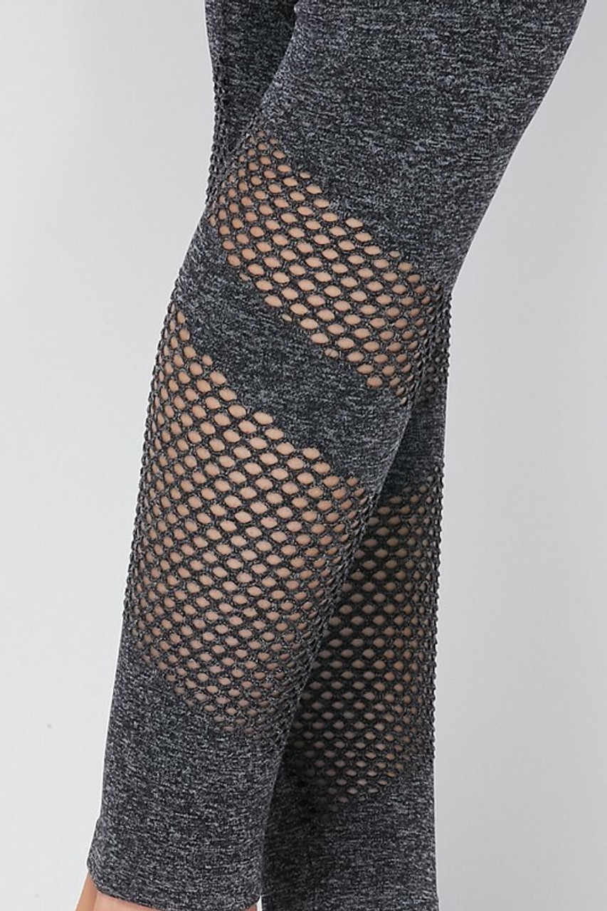 Close up of mesh on leg of Premium 2 Piece Charcoal Bra Top and Leggings Sport Set