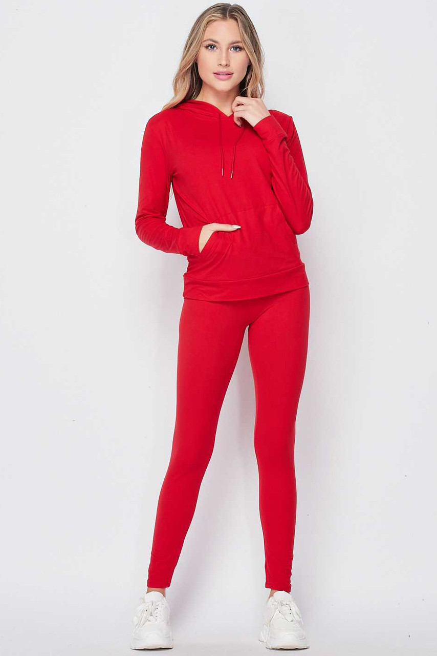 Front side image of Red Solid 2 Piece Buttery Soft Leggings and Pullover Hoodie Set
