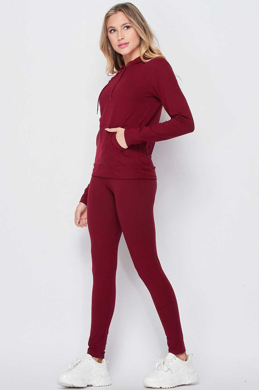 Left side of Burgundy Solid 2 Piece Buttery Soft Leggings and Pullover Hoodie Set