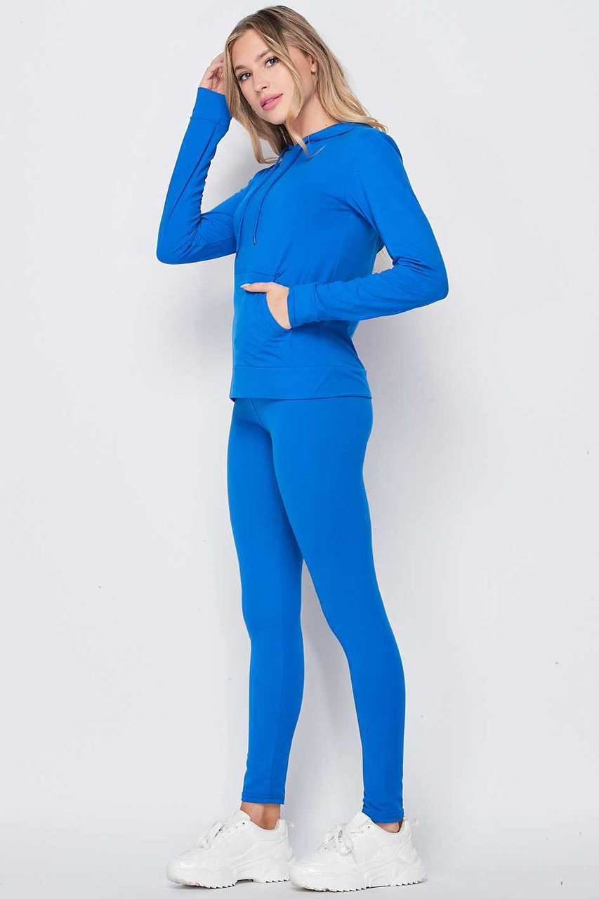 Left side of Blue Solid 2 Piece Buttery Soft Leggings and Pullover Hoodie Set