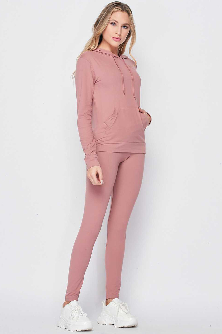 Right side of Mauve Solid 2 Piece Buttery Soft Leggings and Pullover Hoodie Set