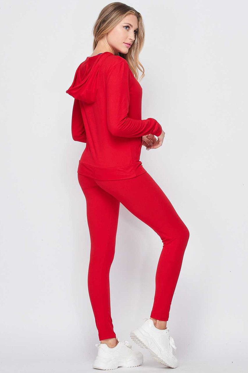 Back/right side image of Red Solid 2 Piece Buttery Soft Leggings and Pullover Hoodie Set