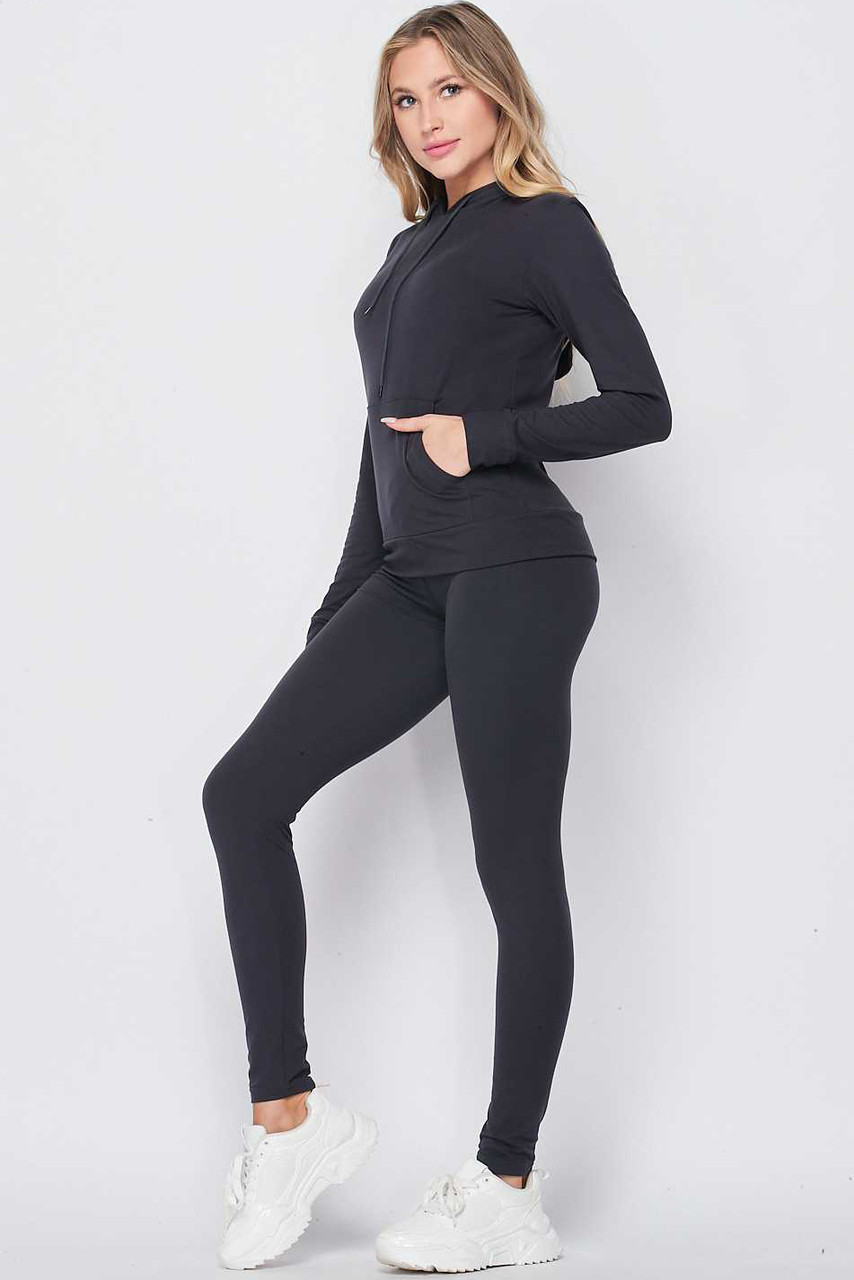 Left side of Navy Solid 2 Piece Buttery Soft Leggings and Pullover Hoodie Set