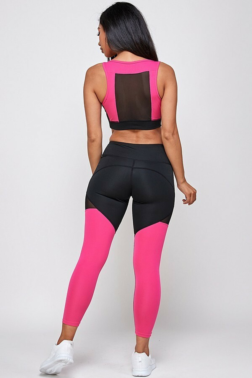 Back side image of Premium 2 Piece Fuchsia Color Block Bra Top and Leggings Sport Set showing a rectangular mesh panel on the back of the bra top