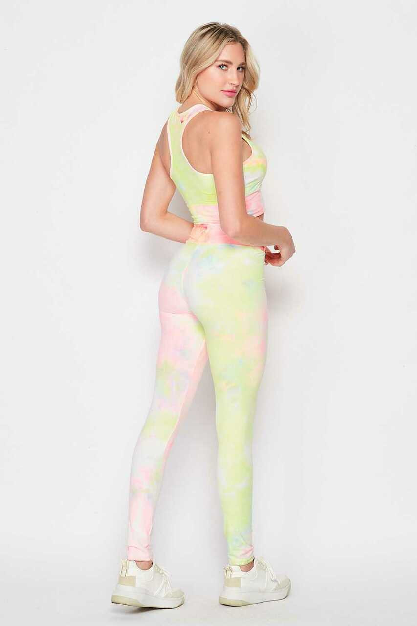 Back/right side of Pink and Yellow Tie Dye 2 Piece High Waisted Leggings and Bra Top Set