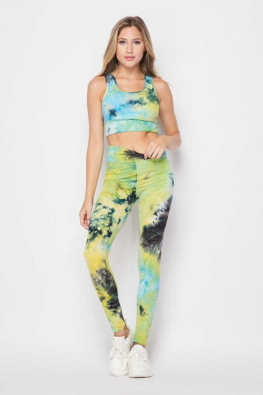 Front of Blue Tie Dye 2 Piece High Waisted Leggings and Bra Top Set