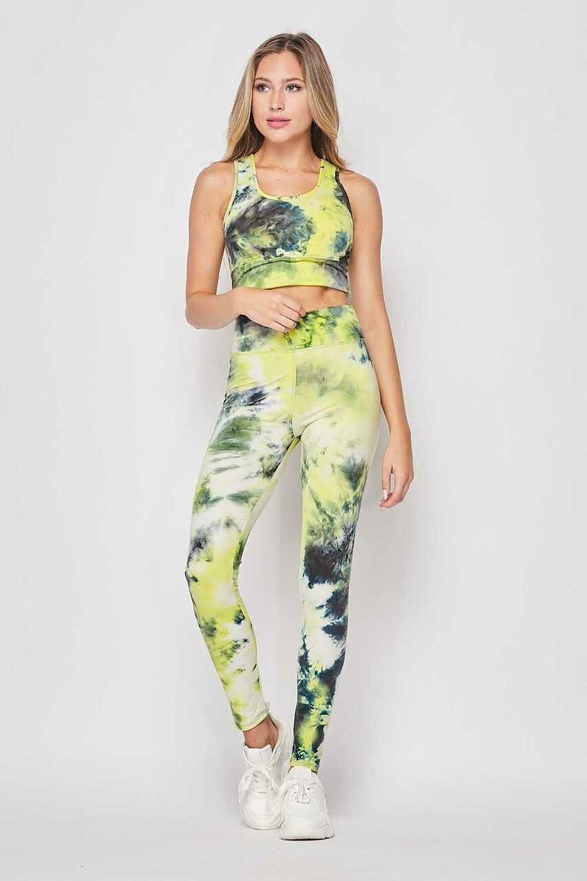Front of Yellow Tie Dye 2 Piece High Waisted Leggings and Bra Top Set
