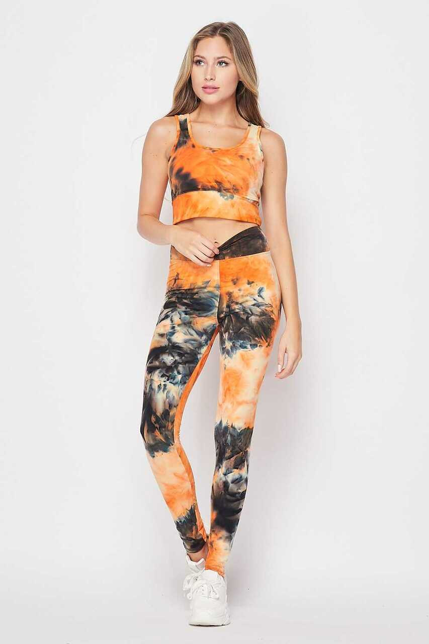 Front of Orange Tie Dye 2 Piece High Waisted Leggings and Bra Top Set