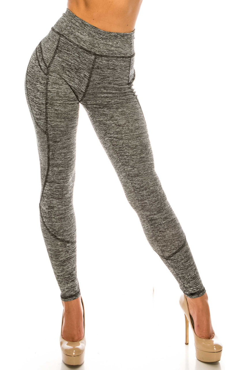 Front side image of Solid Heathered Contour Seam High Waisted Sport Leggings with Pockets with a supportive high waist and wonderful activewear fabric.