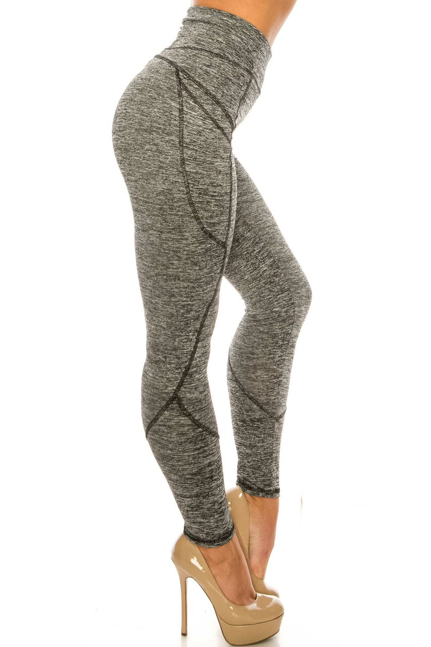 Right side of Solid Heathered Contour Seam High Waisted Sport Leggings with Pockets with a versatile solid gray color scheme