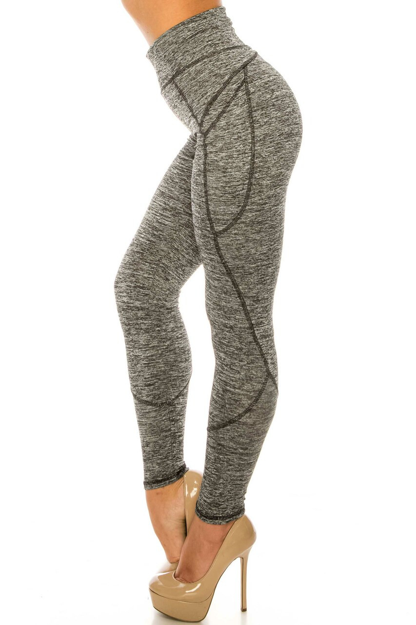 Left side of Solid Heathered Contour Seam High Waisted Sport Leggings with Pockets