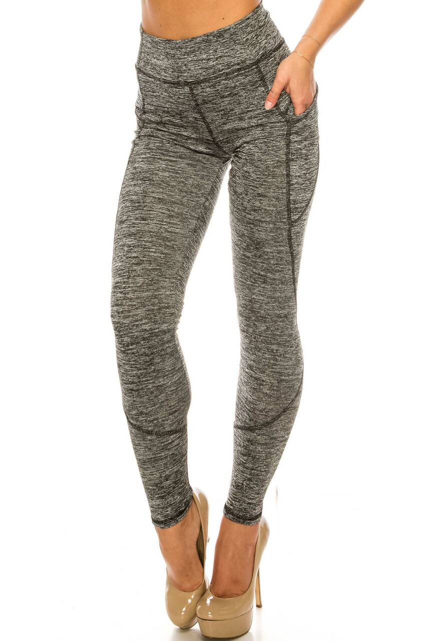 Front side image of Solid Heathered Contour Seam High Waisted Sport Leggings with Pockets perfect for workouts and everyday outfits.