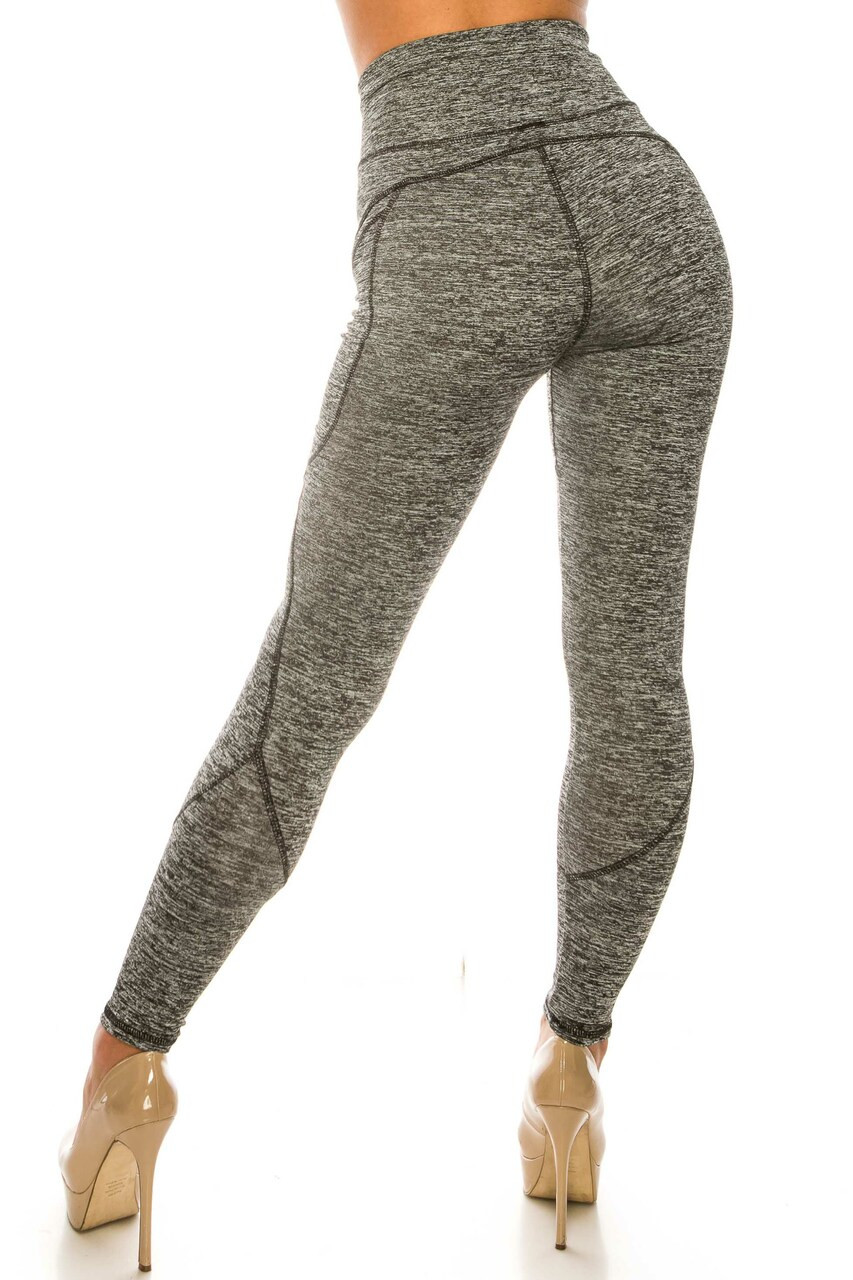 Back side image of Solid Heathered Contour Seam High Waisted Sport Leggings with Pockets with a flattering body-forming fit.