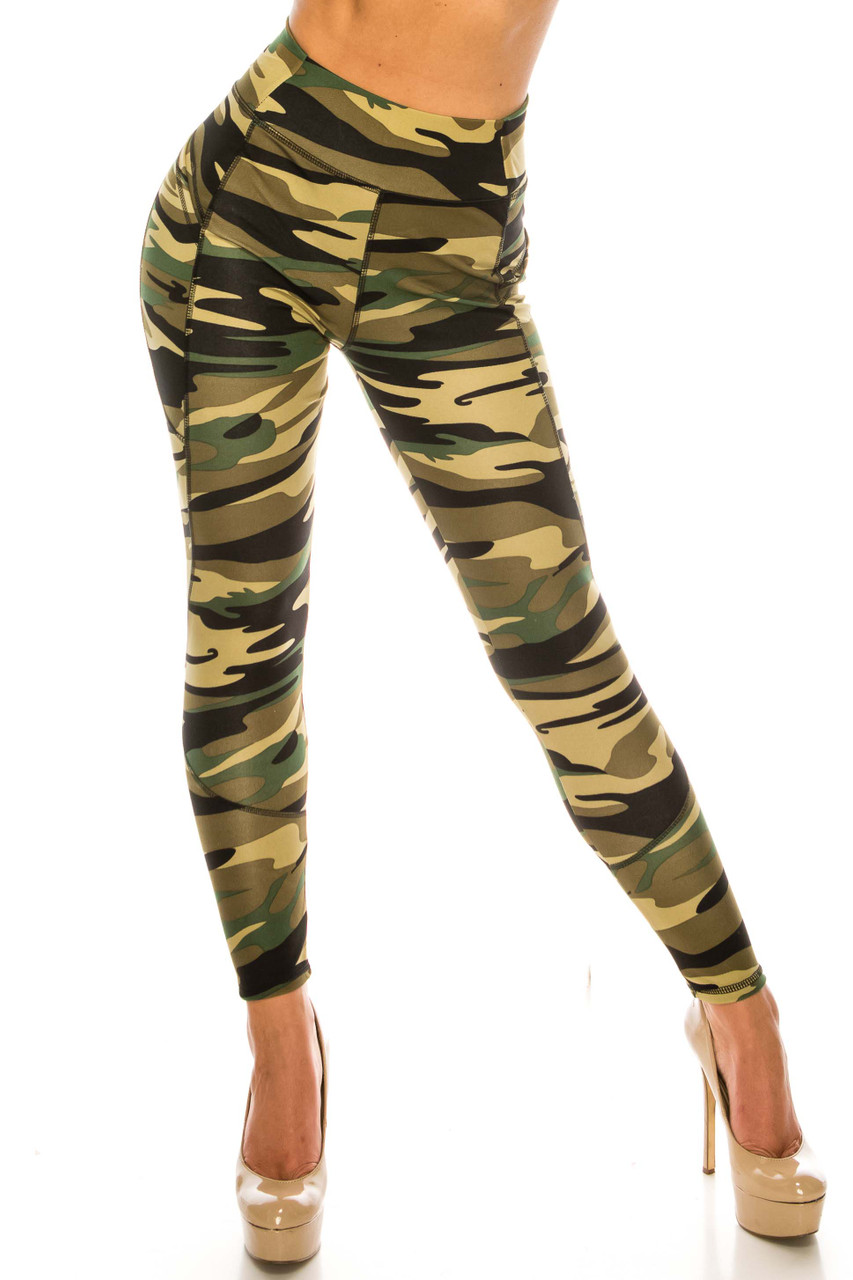 Front side image of Green Camouflage Contour Seam High Waisted Sport Leggings with Pockets