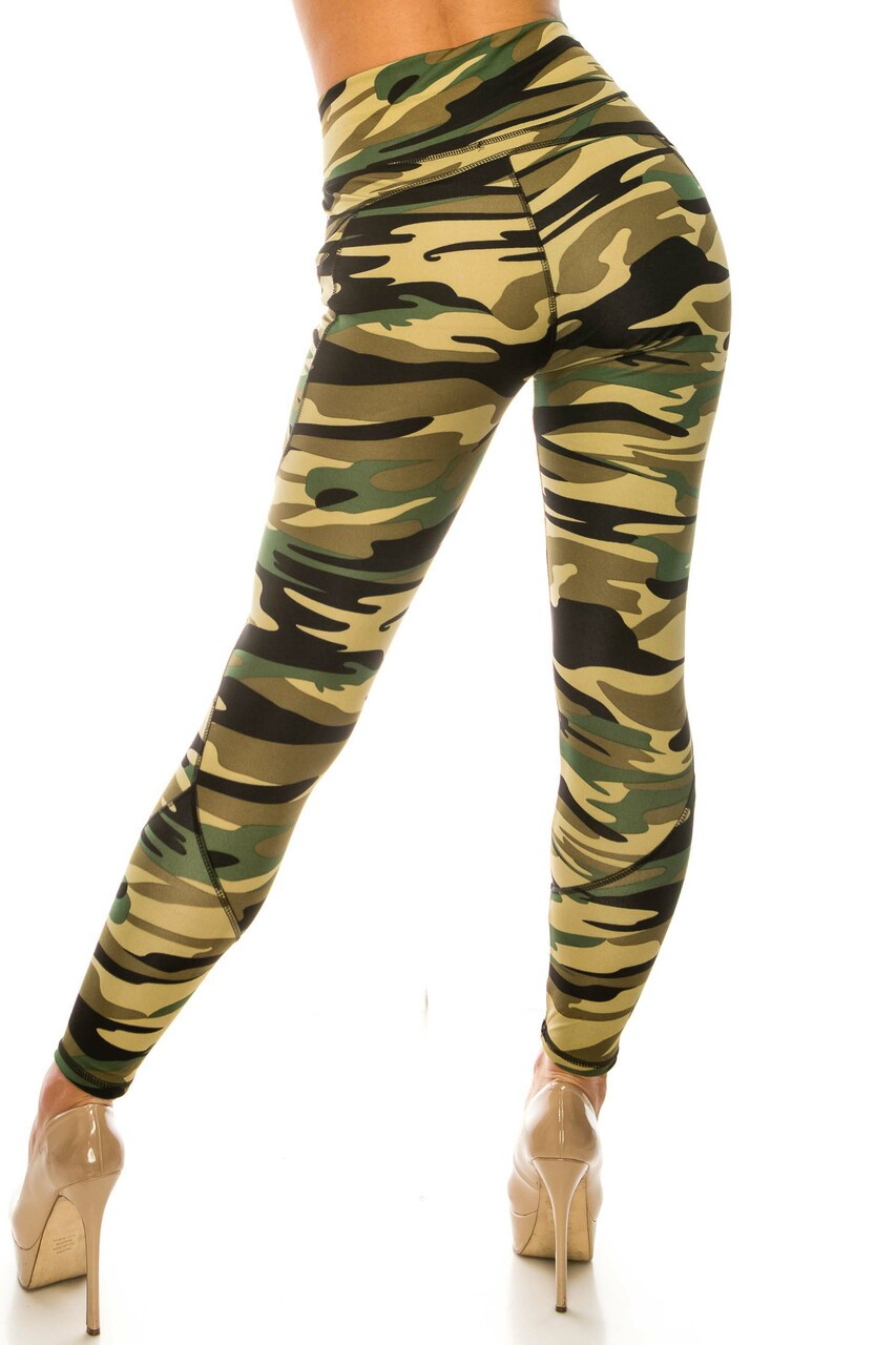 Back side image of Green Camouflage Contour Seam High Waisted Sport Leggings with Pockets