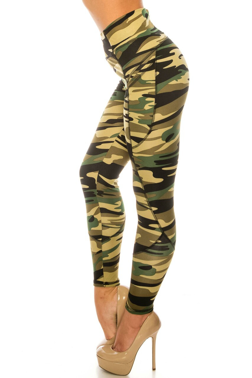 Left side image of Green Camouflage Contour Seam High Waisted Sport Leggings with Pockets