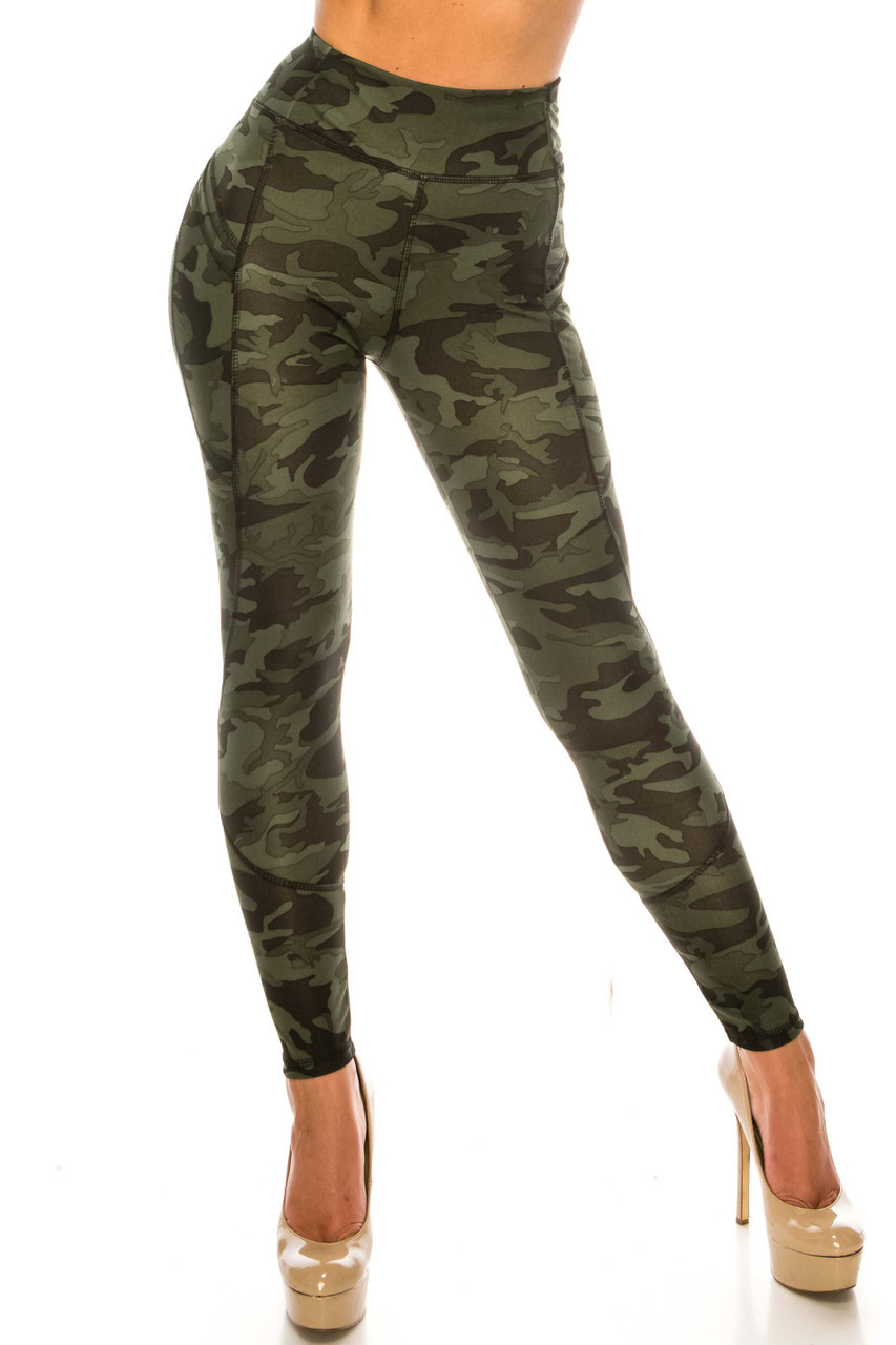 Front side image of Dark Olive Camouflage Contour Seam High Waisted Sport Leggings with Pockets with an all over deep green army print fabric design