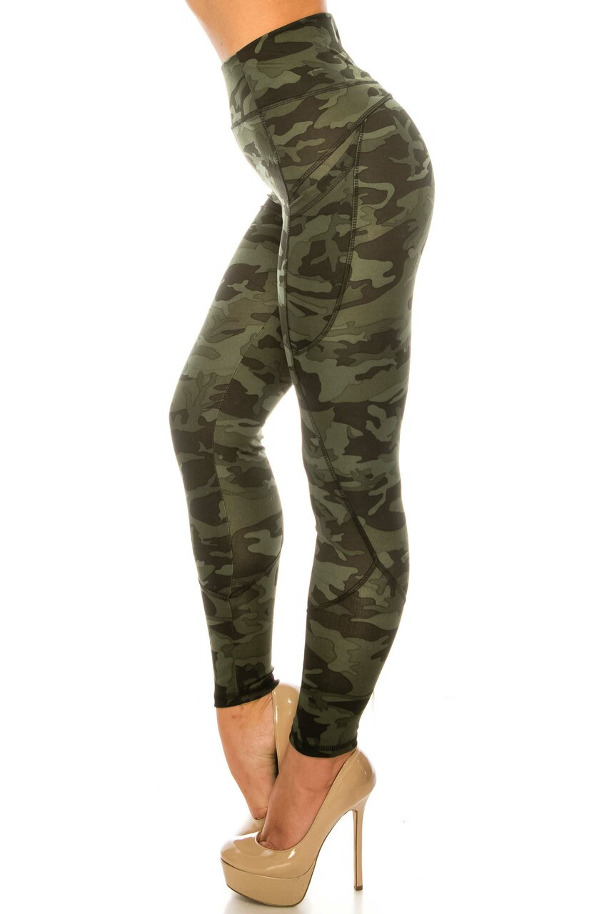 Left side image of Dark Olive Camouflage Contour Seam High Waisted Sport Leggings with Pockets