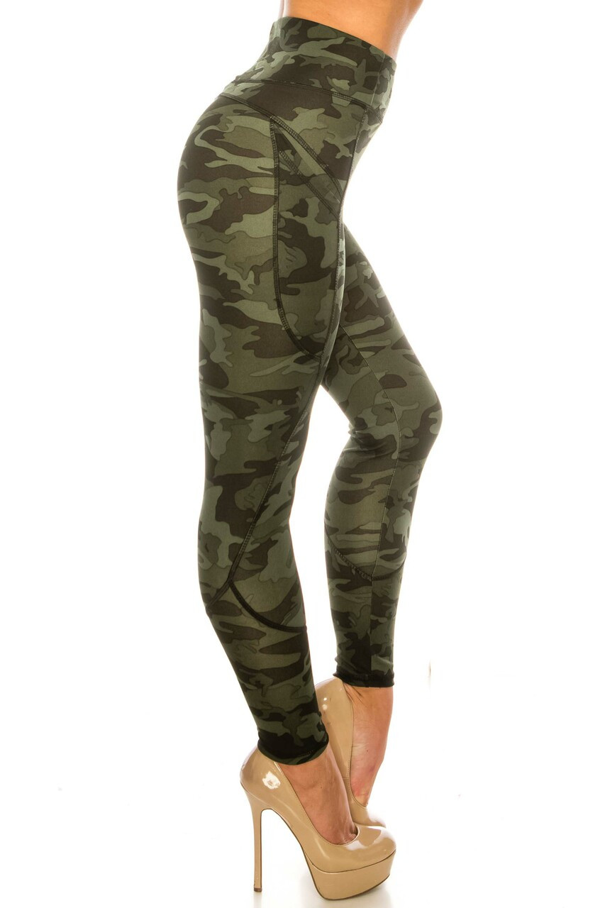 Right side image of Dark Olive Camouflage Contour Seam High Waisted Sport Leggings with Pockets
