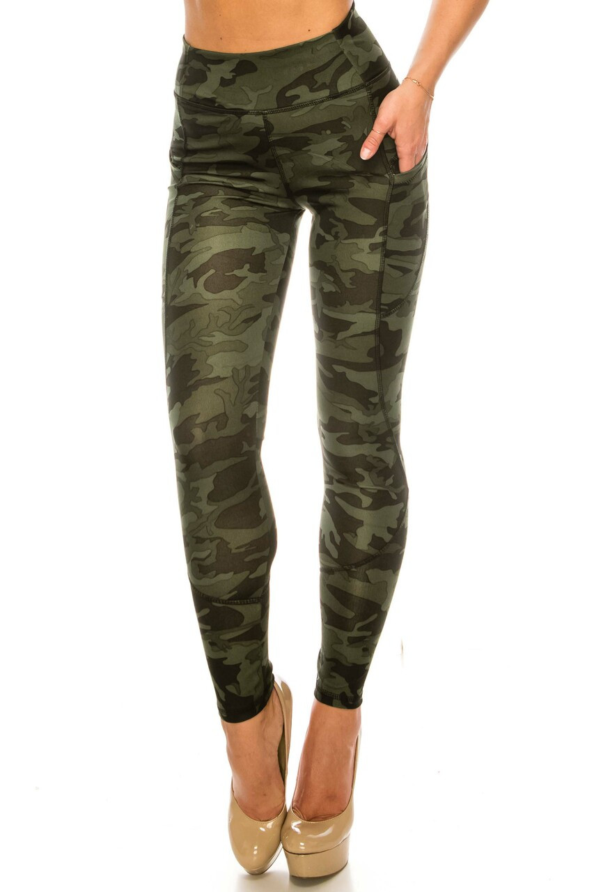 Front side image of Dark Olive Camouflage Contour Seam High Waisted Sport Leggings with Pockets