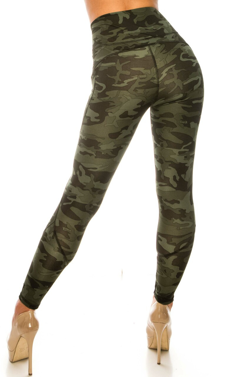 Back side image of Dark Olive Camouflage Contour Seam High Waisted Sport Leggings with Pockets with a trendy design for everyday and durable activewear fabric for workouts.