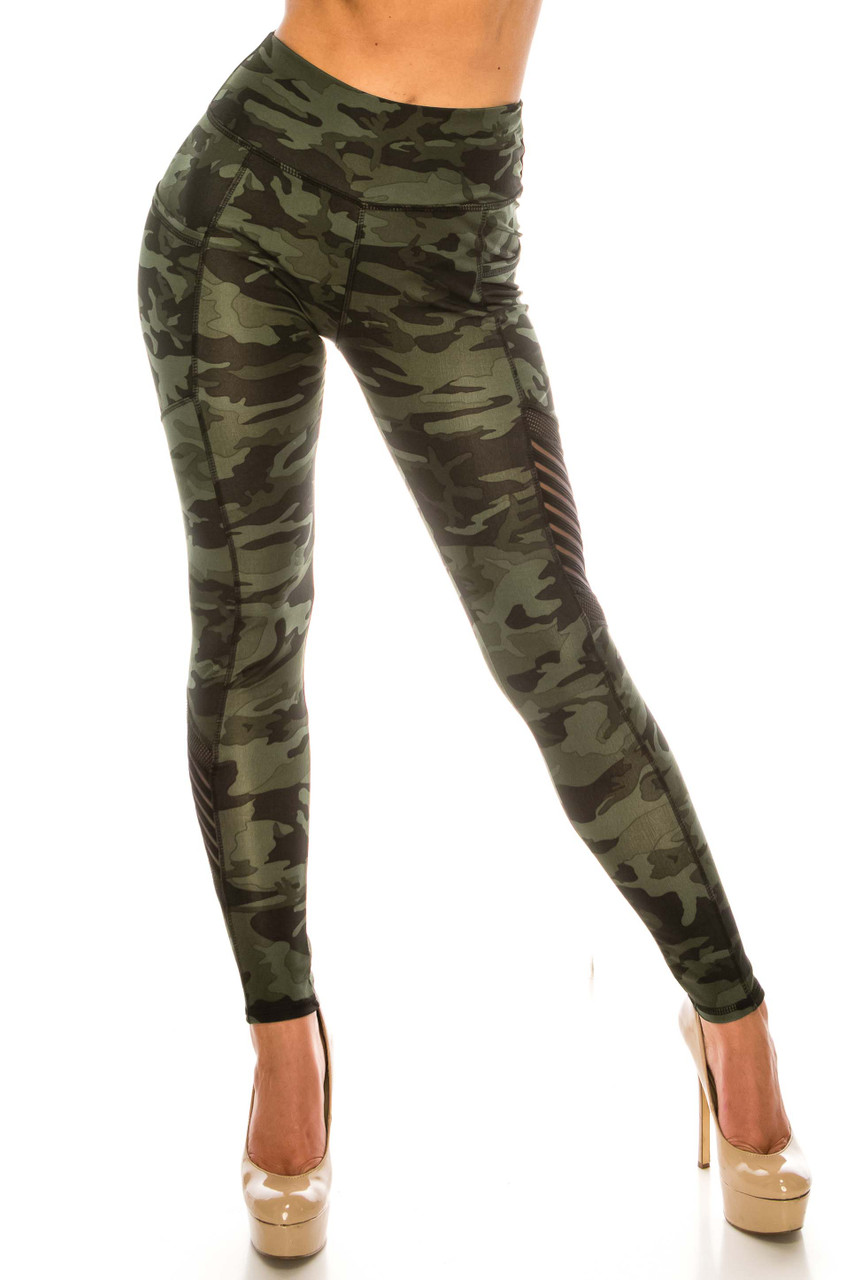 Front side image of Dark Olive Camouflage Serrated Mesh High Waisted Sport Leggings with a classic and edgy army print fabric design