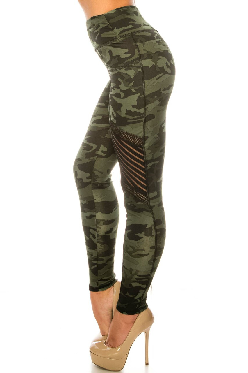 Left side image of Dark Olive Camouflage Serrated Mesh High Waisted Sport Leggings showing the fishnet and striped mesh accent on the thigh