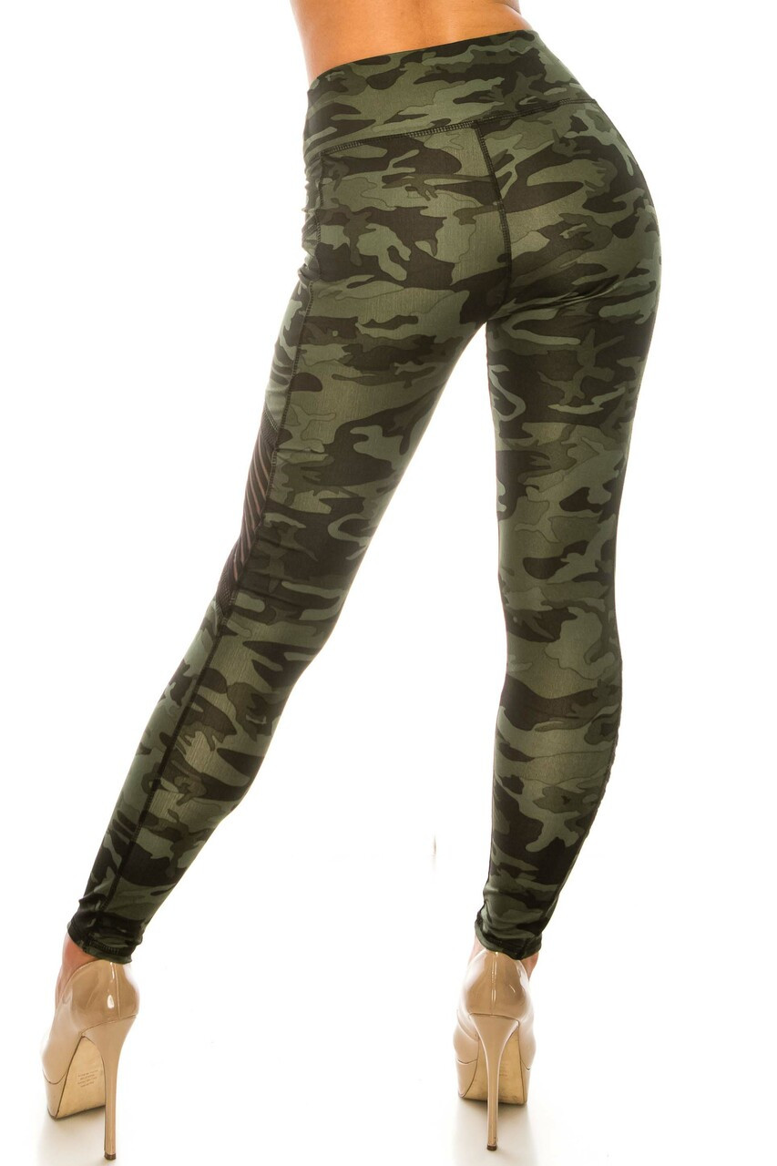 Back side image of Dark Olive Camouflage Serrated Mesh High Waisted Sport Leggings featuring a figure-flattering fit.