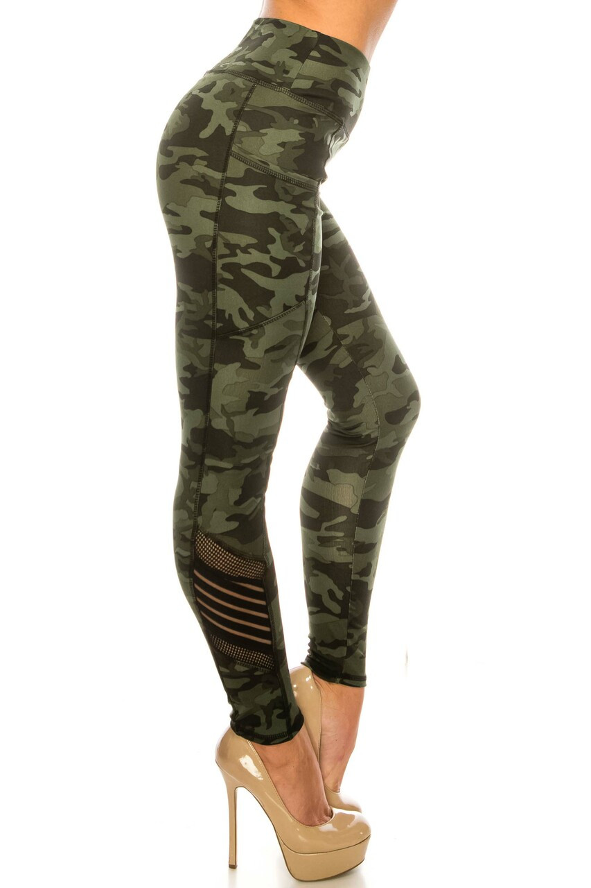 Right side image of Dark Olive Camouflage Serrated Mesh High Waisted Sport Leggings showing the fishnet and striped mesh accent on the calf
