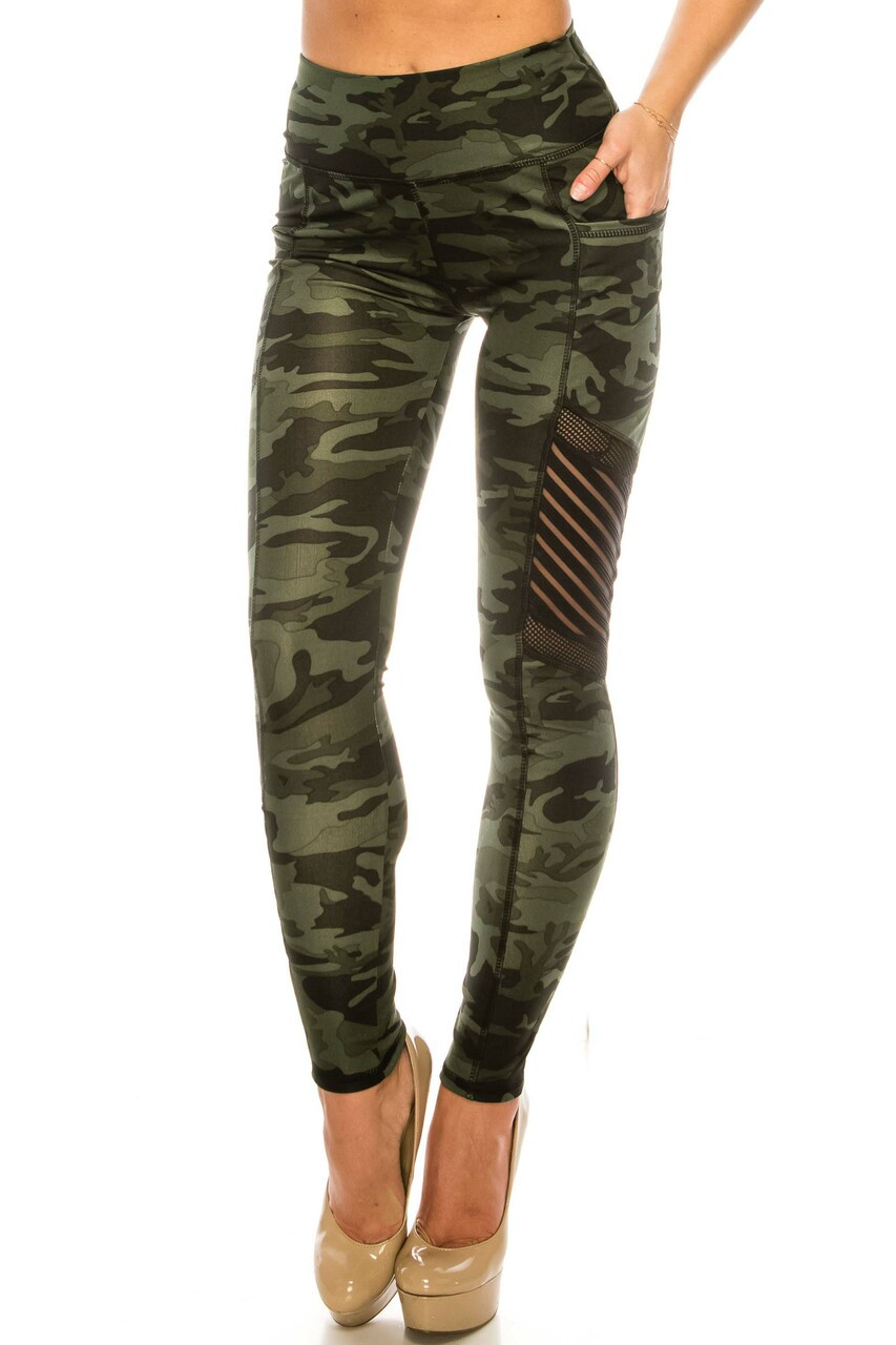 Front image view of Dark Olive Camouflage Serrated Mesh High Waisted Sport Leggings