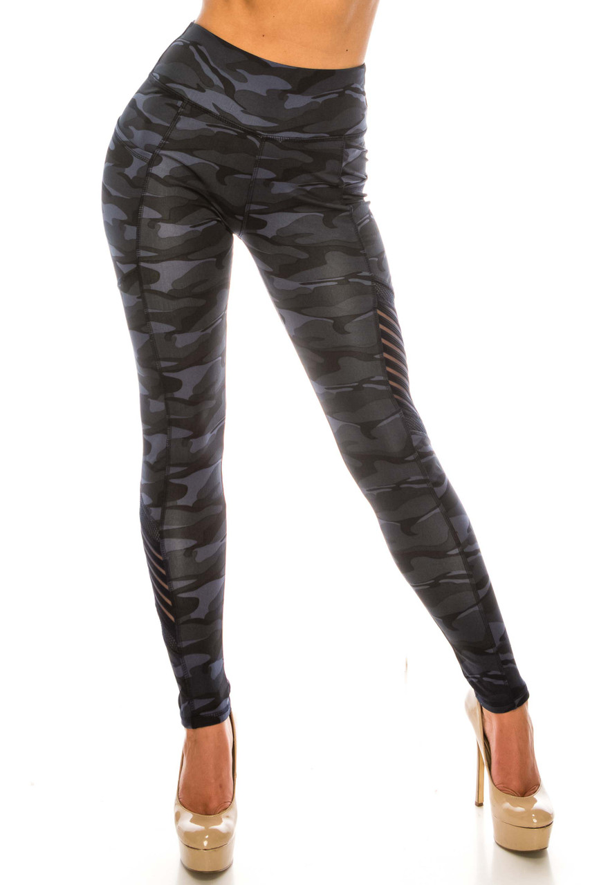 Front side image of Navy Camouflage Serrated Mesh High Waisted Sport Leggings with a cool edgy army print fabric design