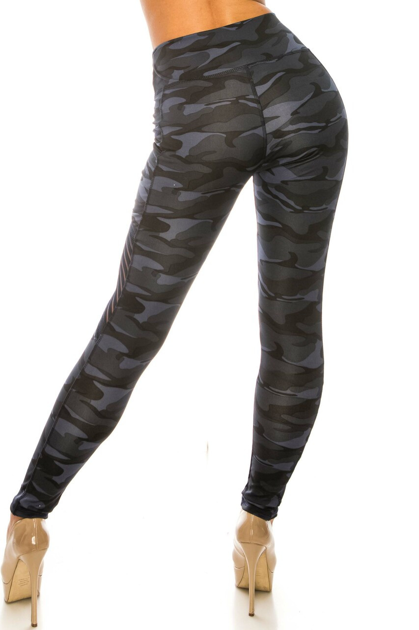 Back side image of Navy Camouflage Serrated Mesh High Waisted Sport Leggings with a fabulous figure-hugging fit